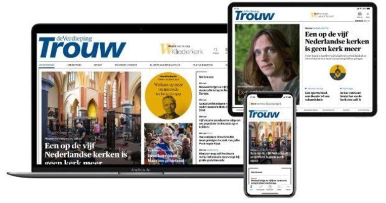De nieuwe producten van Trouw: site, mobiele app en Editie op tablet Beeld Trouw