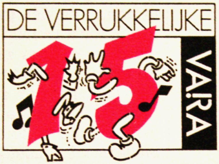 Het logo van de Verrukkelijke 15 in de jaren tachtig. Beeld VARA