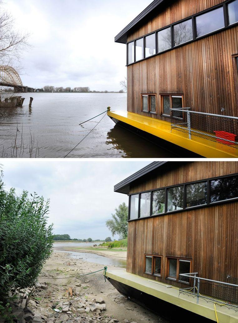 Dezelfde woonboot op de Waal bij Nijmegen, dit voorjaar en vandaag. Beeld anp