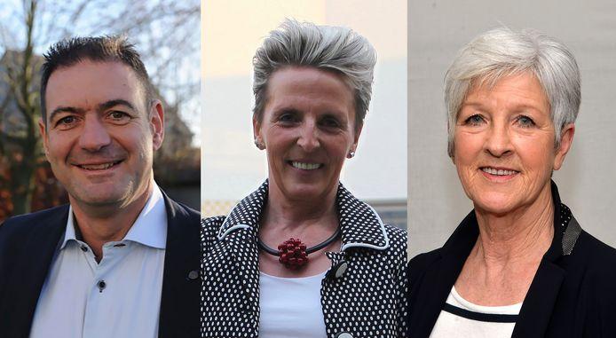 Enkele hoofdrolspelers in de saga: (vlnr.) waarnemend burgemeester Marc Grootjans (CD&V), Karina Rombauts (CD&V) en Raymonde Leskens (N-VA).