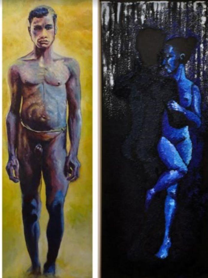 Werken van Kees Habraken (links) en Frank Toeset.