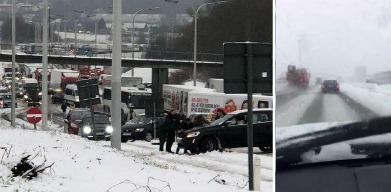 Links: een ongeval in Asse. Rechts: een vrachtwagenbestuurder die links inhaalt. Beeld Mathieu Goedefroy/ VTM Nieuws
