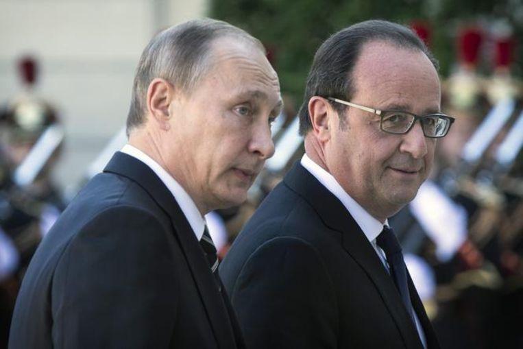 Vladimir Poetin en François Hollande. Beeld ANP