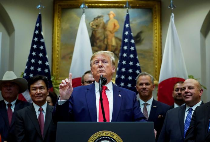 President Trump gisteren tijdens een persconferentie over de Koerden in Noord-Syrië.