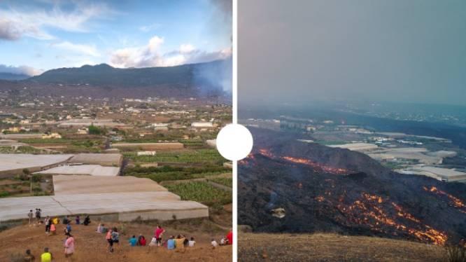 Zelfde plek, 25 dagen verschil: beelden tonen verwoesting van lavastroom op La Palma