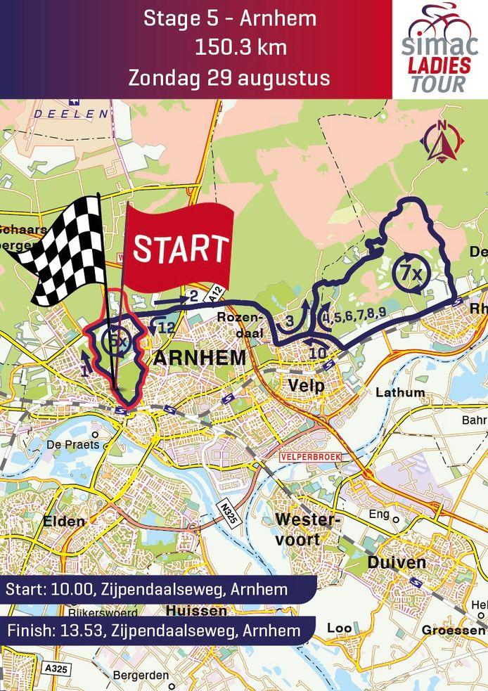 De laatste etappe van de Simac Ladies Tour leidt de rensters over de Posbank. Start en finisch zijn aan de Zijpendaalseweg in Arnhem.