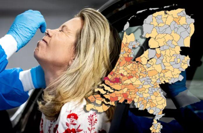 Er zijn de afgelopen tijd veel tests gedaan door de GGD's. De kaart toont het aantal geconstateerde besmettingen