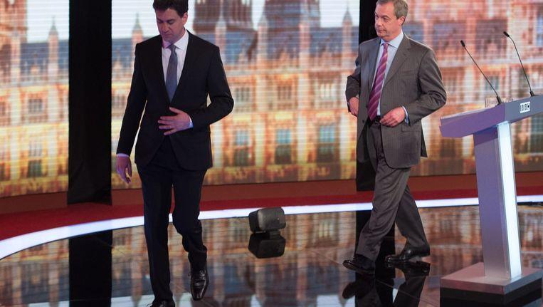 Ed Miliband van de Labour Party (links) en UKIP-leider Nigel Farrage Beeld afp
