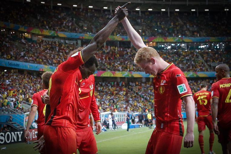 Lukaku en De Bruyne op het WK 2014 tegen de Verenigde Staten. Beeld BELGA