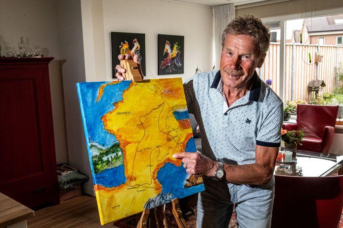 Jan Viscaal werd bij thuiskomst verrast door vrienden én een schilderij van zijn vrouw.