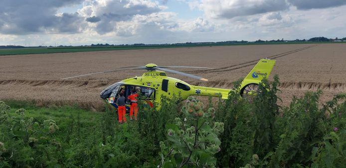 Een traumahelikopter landde.