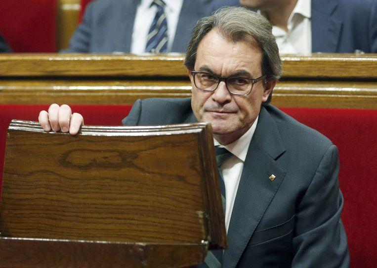 Artur Mas na zijn eerste mislukte herverkiezing in november. Beeld EPA