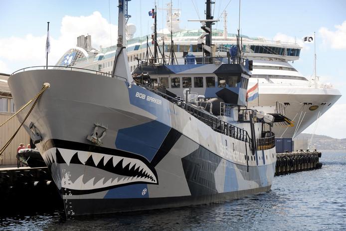 Het schip Bob Barker, voorheen actief in de Zuidelijke Oceaan, voer onder de Nederlandse vlag.