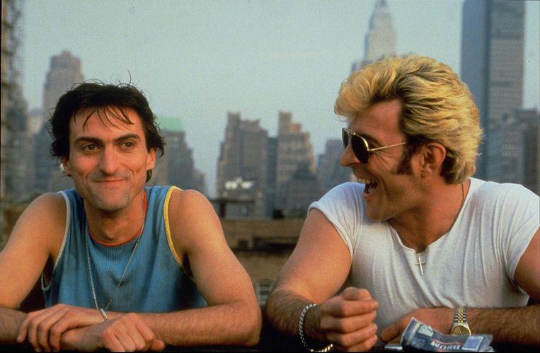 Rene van 't Hof (links) en Huub Stapel in 'Flodder in Amerika!'. Beeld ANP