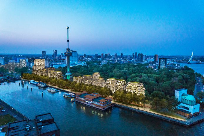 Het plan voor de woningbouw aan de Parkhaven in Rotterdam.