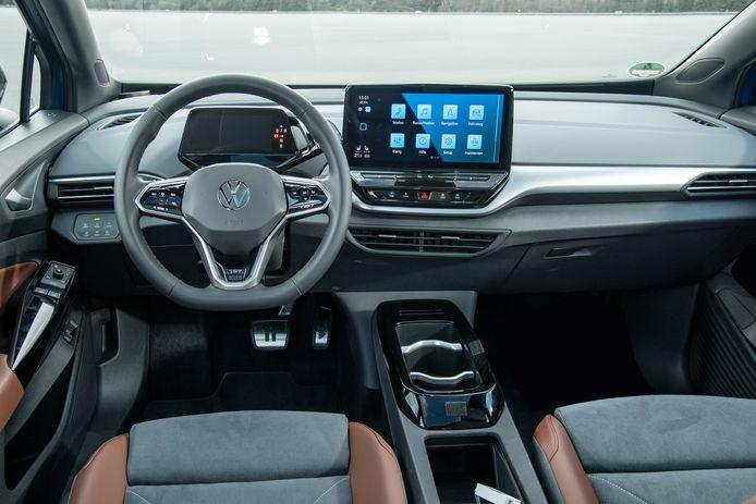 Het interieur van de Volkswagen ID.4 lijkt sterk op dat van de kleinere ID.3