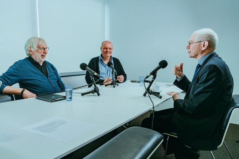 Yves Desmet en Guy Polspoel interviewen Herman Van Rompuy voor 'Polspoel & Desmet'. Beeld Illias Teirlinck