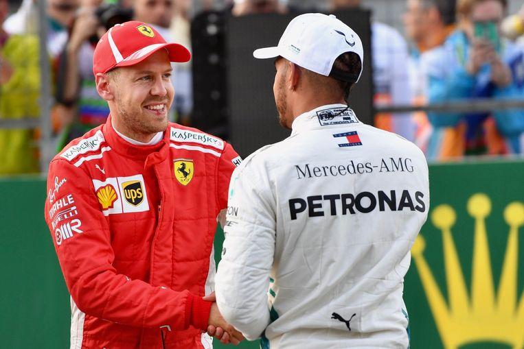Sebastian Vettel en Lewis Hamilton.