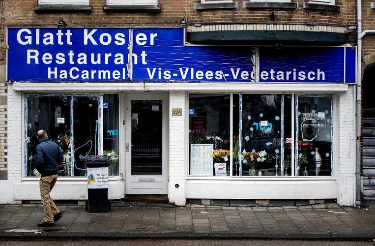 Amsterdam - 15-12-2017. Vandalen beschadigen Joods restaurant HaCarmel in Amsterdam. Beeld ANP