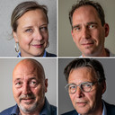 De vier ic-specialisten, van linksboven met de klok mee: Anke Kröner (Gelre ziekenhuizen), Jasper Haringman (Isala Zwolle), Frits van der Velde (St Jansdal Harderwijk) en John Geurink (Deventer Ziekenhuis).
