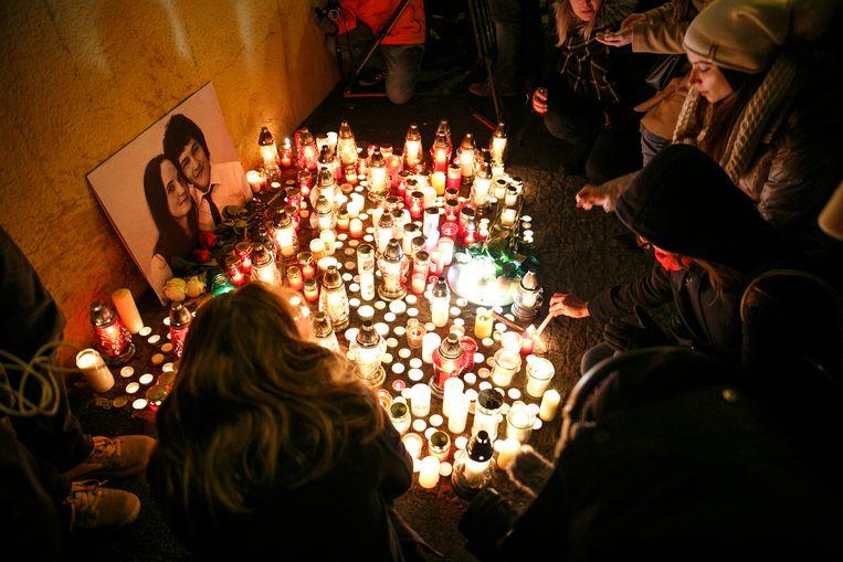 Wake voor de vermoorde Slowaakse journalist Jan Kuciak, 2018, die landbouwfraude onderzocht. Beeld EPA-EFE