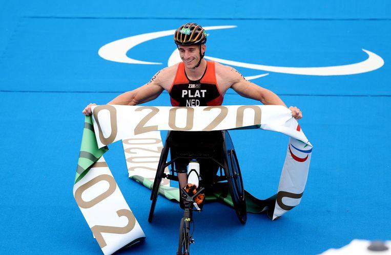 Jetze Plat, net na de finish. Het is de eerste van mogelijk drie gouden medailles. Beeld Reuters