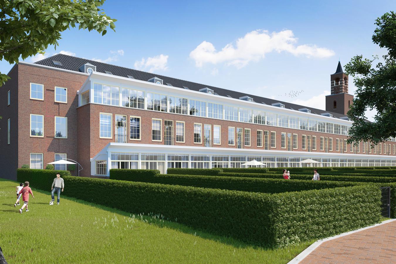 De tot woningen verbouwde vrouwenvleugel van De Klokkenberg.