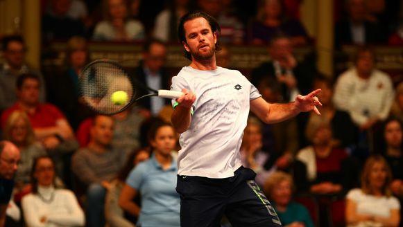 Xavier Malisse, hier actief op een demonstratietoernooi in Londen, is de nieuwe coach van tennisser Kimmer Coppejans (ATP 179)