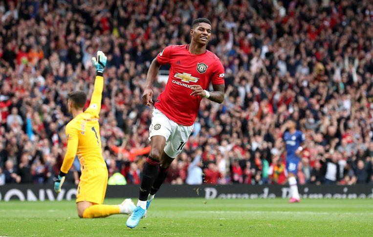 Manchester United-spits Marcus Rashford viert zijn goal. Beeld Photo News