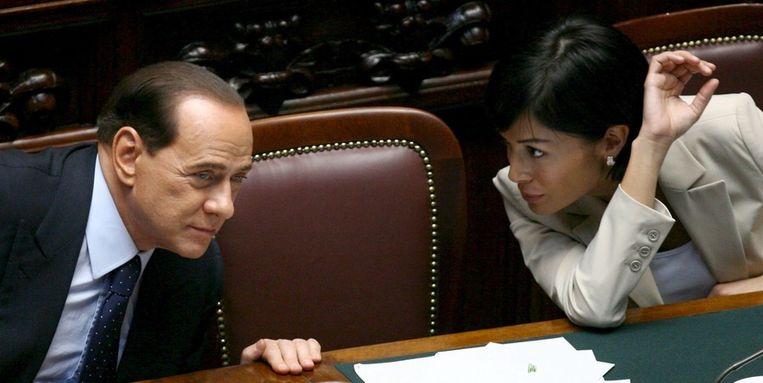 Mara Carfagna in het Italiaanse parlement. Beeld EPA
