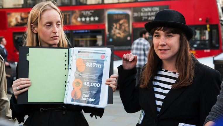 Archiefbeeld van de Londense Tax Tour Beeld Sophie Agrotis/ActionAid