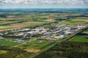 Bedrijventerrein Trekkersveld in Zeewolde met op de achtergrond de beoogde locatie voor Eemvallei Stad.