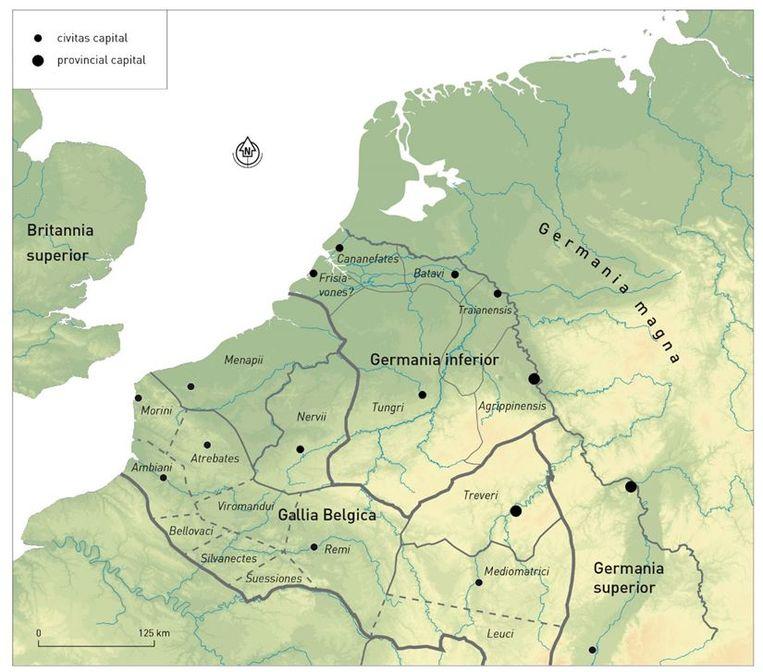 De lage landen, begin 3de eeuw. Beeld Stijn Heeren/Nico Roymans/VU Amsterdam