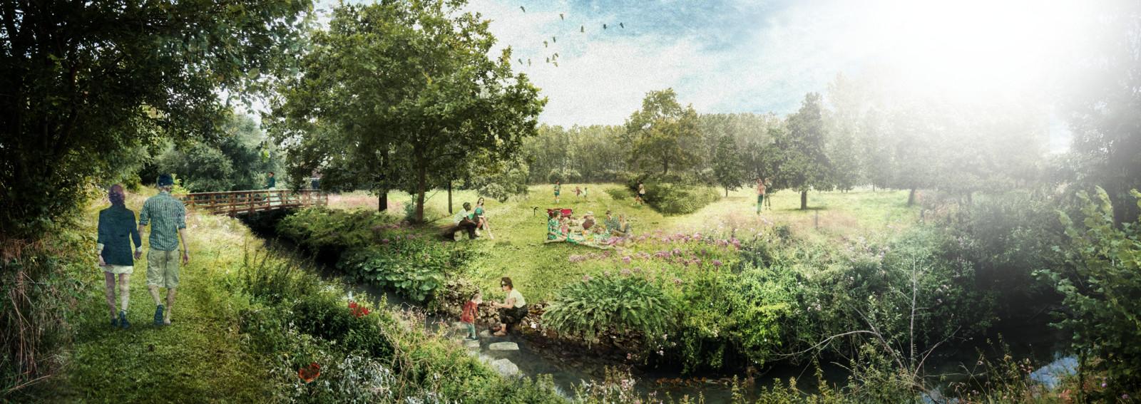 Zo zal het Damiaanpark er uitzien wanneer het helemaal klaar is.