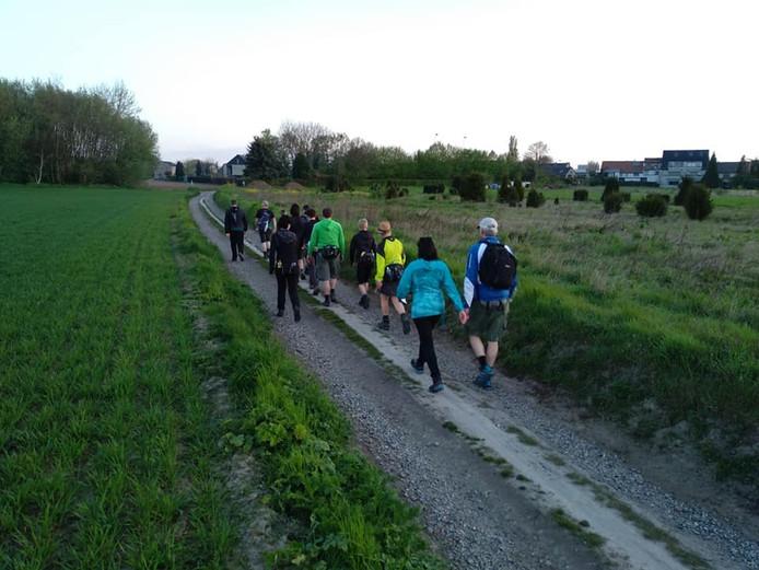 Wandelaars op weg naar de Vrijthof in Hilvarenbeek