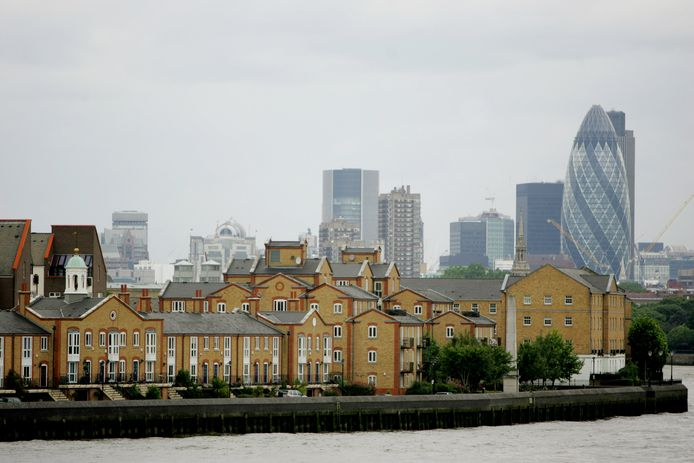 Het stadsaanzicht van Londen met de karakteristieke huizen. De huizenprijzen stijgen al even niet meer in Groot-Brittannië vanwege de onzekerheid rond brexit.