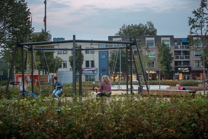 Schommels op het Marktplein in Ede. Voor een rolstoelschommel is geen plek, zegt het gemeentebestuur.