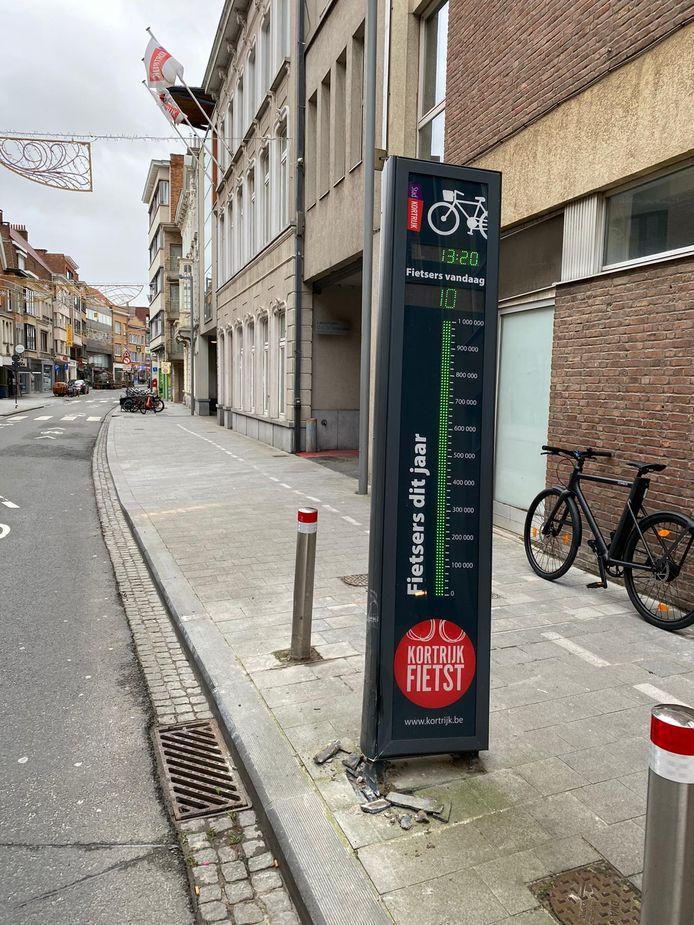 De aangereden fietstelpaal in de Budastraat.