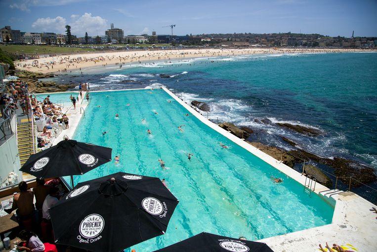 Een zwembad in Bondi, uitgehakt in de granieten rotsen aan de kustlijn.  Beeld Dieter Moeyaert