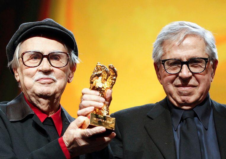 Regisseurs Vittorio (links) en Paolo Taviani wonnen in 2012 de Gouden Beer voor 'Caesare Deve Morire'. Beeld REUTERS