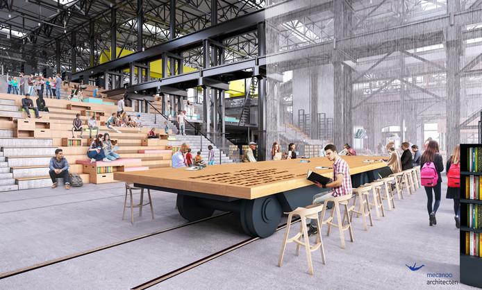 LocHal, nieuwe bibliotheek Tilburg, impressie podiumtafels en trap beneden.