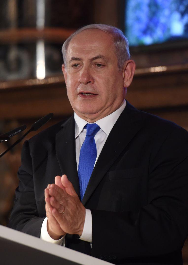 De Israëlische premier Netanyahu op de veiligheidsconferentie in München. Beeld null