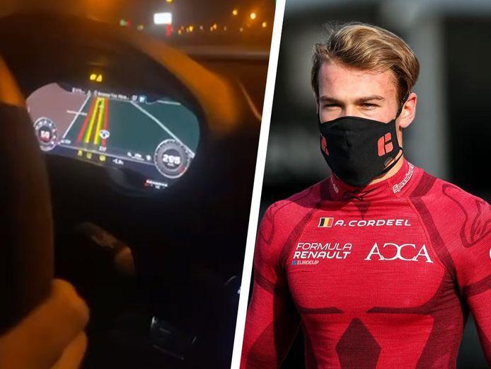 Arnaud Cordeel a posté une vidéo sur TikTok où une voiture roule à 300 km/h sur la E17