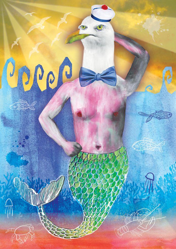 Het ontwerp dat Eva Bonneur maakte voor Film by the Sea 2022. Het logo van het festival en de data moeten nog op het affiche komen.