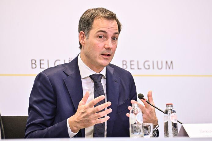 Premier Alexander De Croo (Open Vld) tijdens de persconferentie na het vorige Overlegcomité.