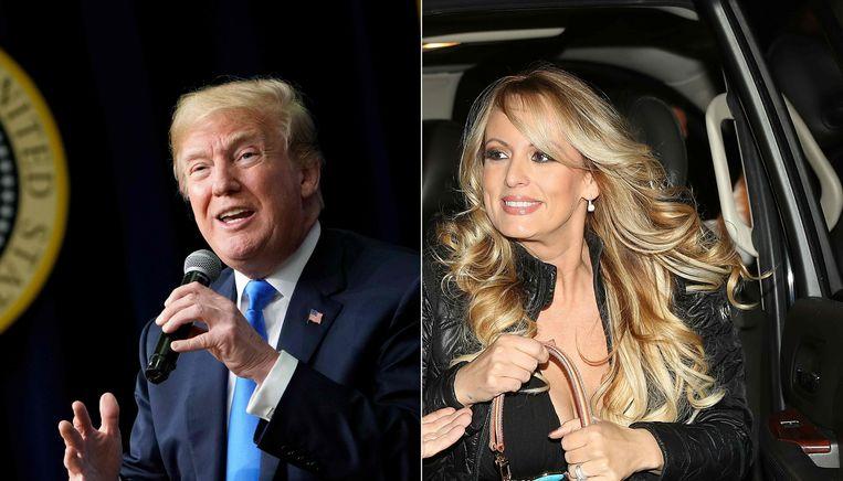 Oud-president Donald Trump en pornoactrice Stormy Daniels. Beeld AFP