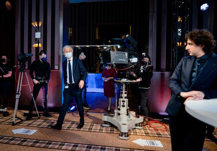 (V.l.n.r.) Geert Wilders (PVV) en Jesse Klaver (GroenLinks) tijdens het eerste lijsttrekkersdebat voor de Tweede Kamerverkiezingen. Het debat is georganiseerd door de drie noordelijke provincies en drie dagbladen. Beeld ANP