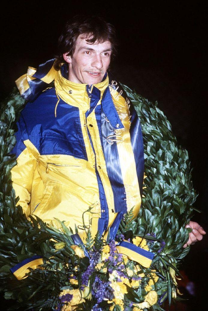 Evert van Bethem na zijn zege in 1985.