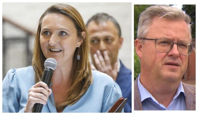 Gwendolyn Rutten op 22 mei bij haar afscheid als voorzitter van Open Vld, achter haar staat opvolger Egbert Lachaert. Foto rechts: HLN-analist Carl Devos (UGent).
