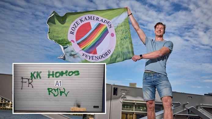 Paul van Dorst zwaait met de vlag van de Roze Kameraden. Foto-inzet: de bekladding bij zijn sportschool.